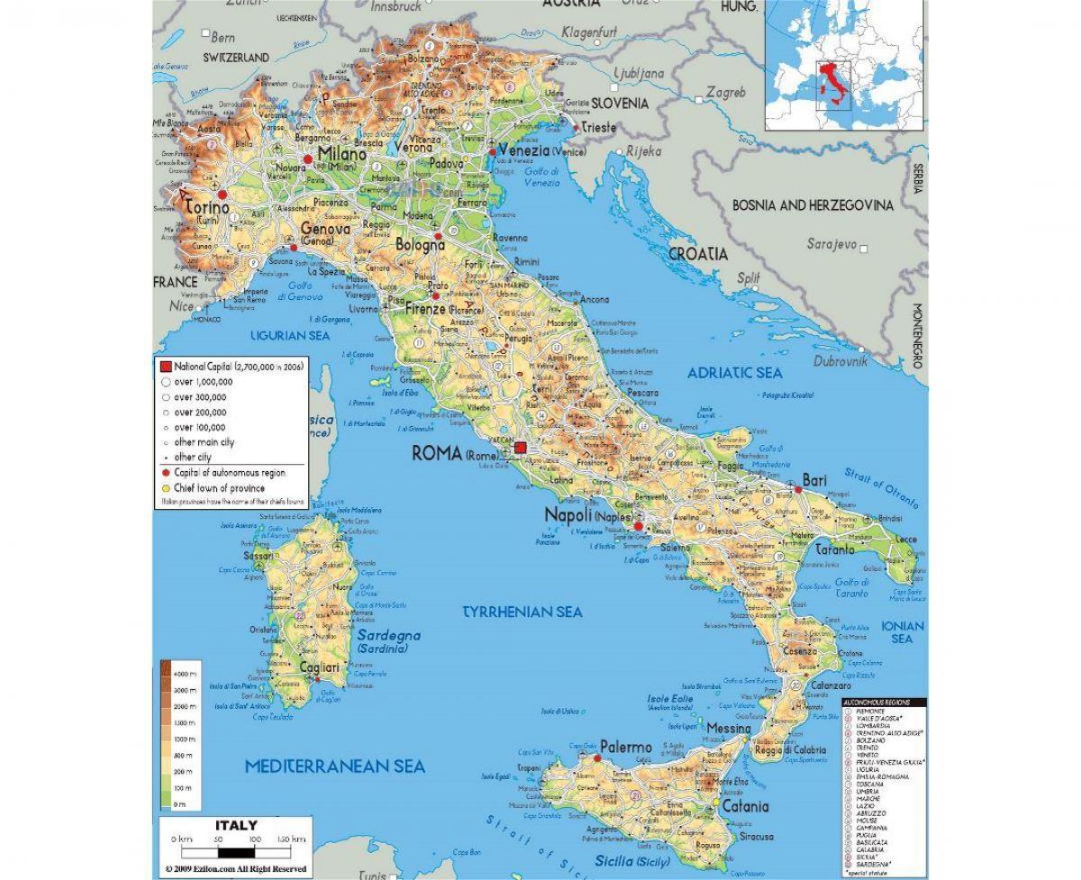 Fizicka Karta Rimu Kartu Fizickog Rima Lazio Italija